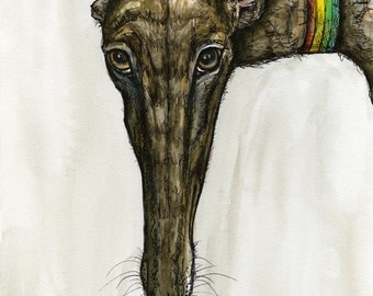 Surreptitiously- Greyhound Dog Art Print