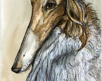 A Little Conversant - BORZOI DOG PRINT