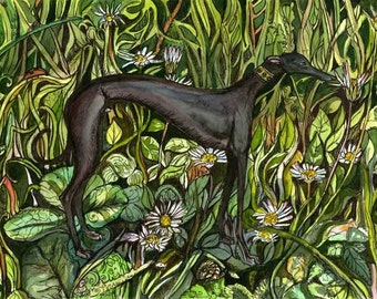 Things arent as quite as they seem - Greyhound Art Dog Print