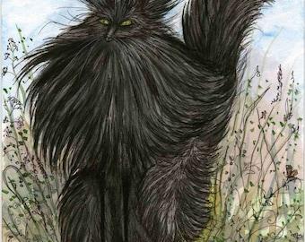 Black Fuzzy Cat - Cat Art print