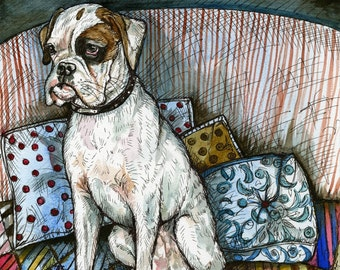 A Little Reluctant- Boxer Dog Print 5 x 7 inch