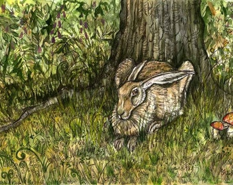 The Dingley Dell - Hare Art Print