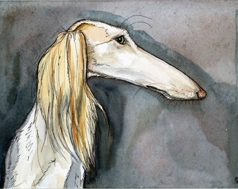 A Little Fussy - Saluki Hound Dog Art Print