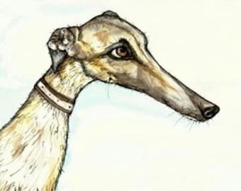 A Little Concerned - Greyhound Dog Print by Elle J. WIlson