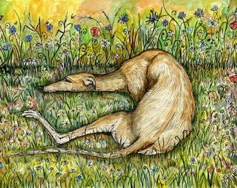 Greyhound Dog Print - 5 x 7 inch by Elle J. Wilson