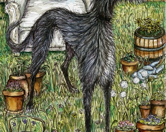 Lurcher art dog print by Elle J. Wilson