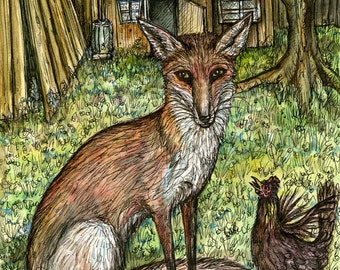 The Fox and the Angry Chicken - Fox Print