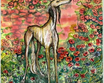 A Moment of Truth - Saluki Hound Dog Art Print