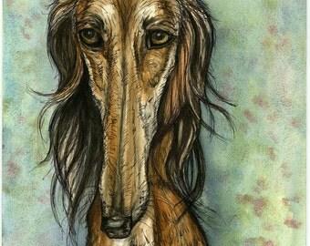 A Little Prudent - Saluki Hound Dog Art Print