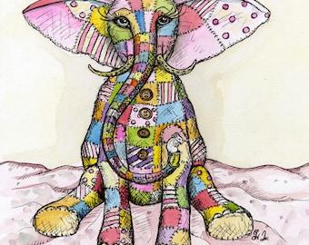 Elephants arent really afraid of mice - Elephant Art Illustration Print