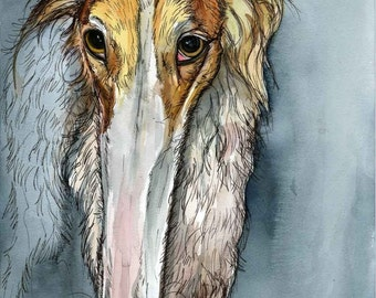 I suppose you think thats funny - Borzoi Hound Dog Print - 5 x 7 inch