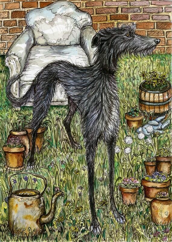 Lurcher art dog print by Elle J. Wilson