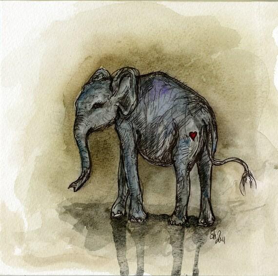 A Little Love from a Little Elle - Elephant Art Print