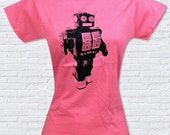 Retro Toy Robot Ladies Pink T-Shirt - Sizes S, M, L, XL