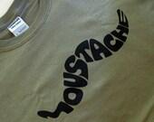 Awesome Moustache Print on  Men's Khaki Green T-shirt - Size XL - SALE
