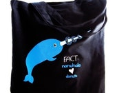 Narwhal Tote Bag - Fact Narwhal Love Donuts Print on Black bag