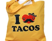 Canvas Tote Bag - I Love TACOS Print on a Yellow Tote Bag