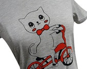 Cat on a Bike Ladies T-shirt (Available in sizes S, M, L, XL)