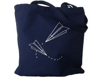 Canvas Tote Bag - Paper Planes Print on Navy