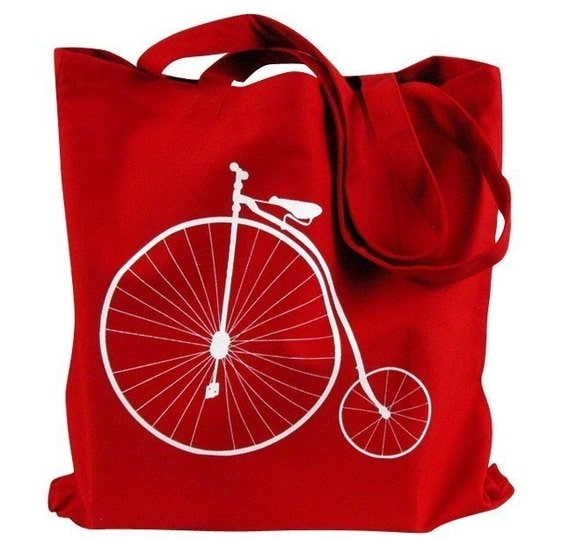 Canvas Tote Bag - Penny Farthing Bicycle on a Red Canvas Tote Bag