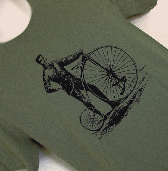 A Gentleman and His Bike Mens Khaki Green T-Shirt - SIZE SMALL - SALE
