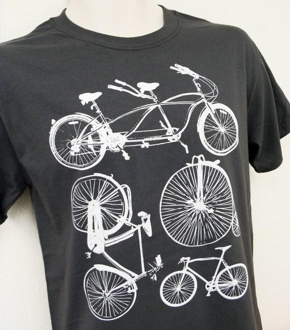 Bike Shirt - Bicycle Collection Mens Unisex GREY Shirt - Sizes S, M, L, XL