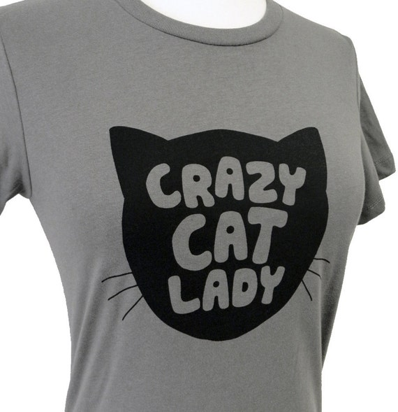 Crazy Cat Lady T-Shirt - Grey FunnyCat Ladies Shirt - (Available in sizes S, M, L, xl)