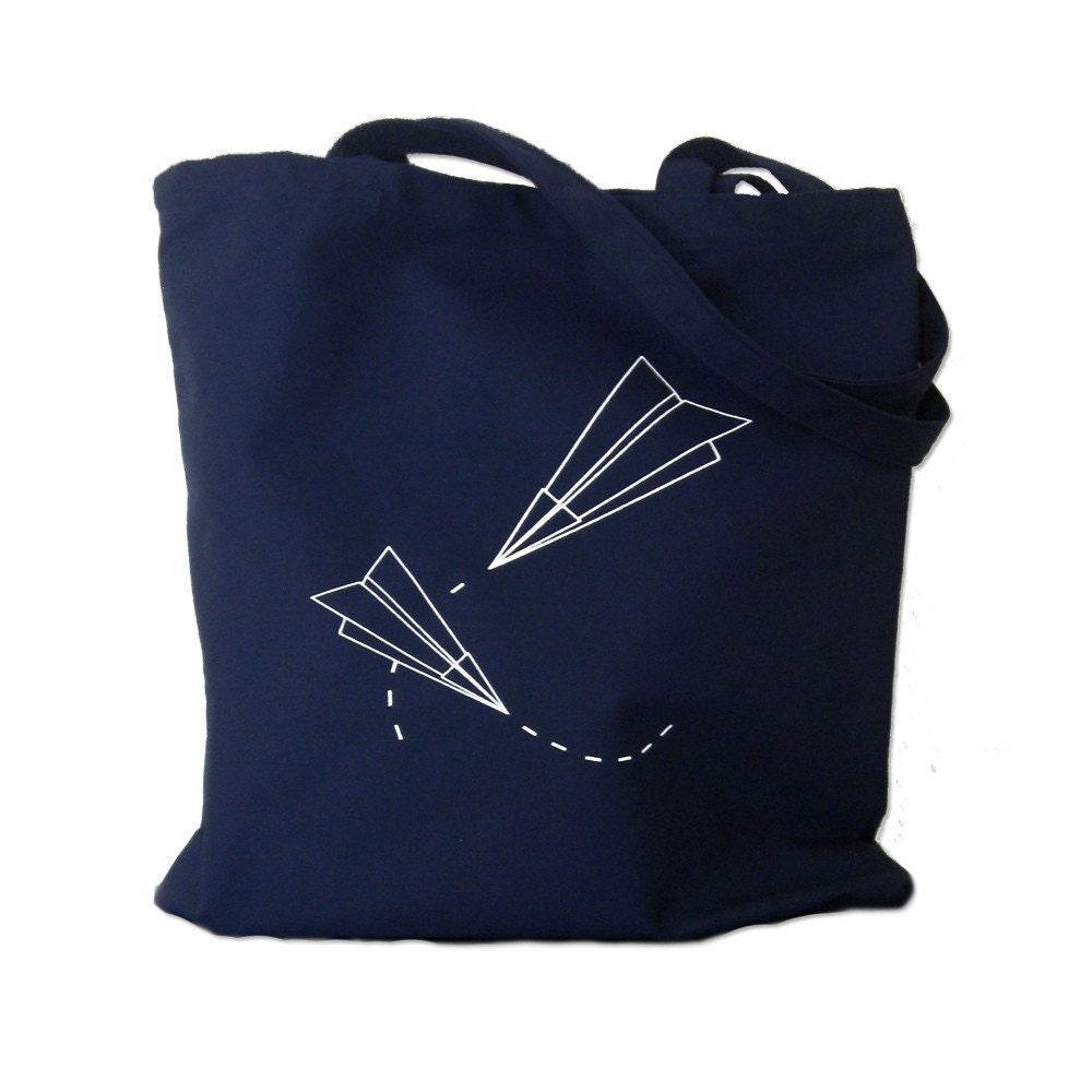 Canvas Tote Bag Paper Planes Print On Navy