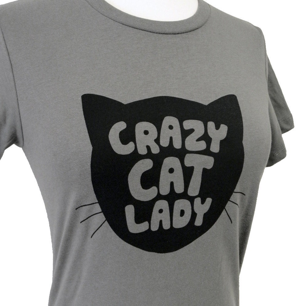 womens cat t shirt crazy cat lady print on a gray t shirt. Black Bedroom Furniture Sets. Home Design Ideas