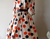 FABULOUS 1950's Silk Polka Dot Print Dress by Miss Brooks Red White and Blue Dots
