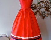SOLD///50s Dress / Vintage 1950s Red White and Blue Summer Party Dress by Vicky Vaughn Junior NOS Size XS