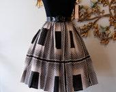 SOLD///// 50s Dress / 60s Dress / Vintage 50s 60s Black and White Op Art Print Cotton Sun Dress Size S