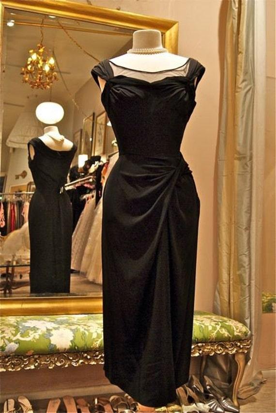 Vintage 50s 1950s Couture Designer Ceil Chapman Black