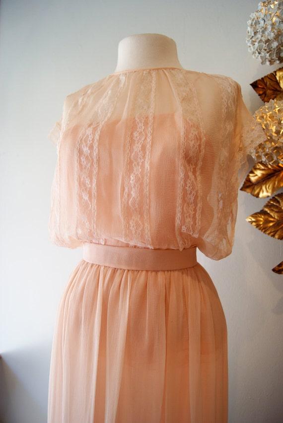 Vintage Oscar de la Renta Couture Silk Chiffon Wedding Dress Boho Romantic Sheer Lace 3 pc.