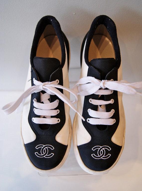 Vintage Chanel Ladies Sneakers Tennis Shoes Black By