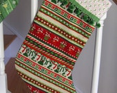 Christmas Stocking. Snowman Red & Green  with PomPom Ball Fringe Cuff and Lining. Adult or Child Stocking - BabyGigglesOnline
