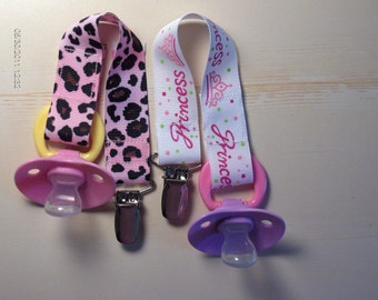 PACIFIER Holder for GIRLS. Princess Design - Baby Shower Gift, Universal, Soothie, Mam. Avent, Gumdrop or Nuk