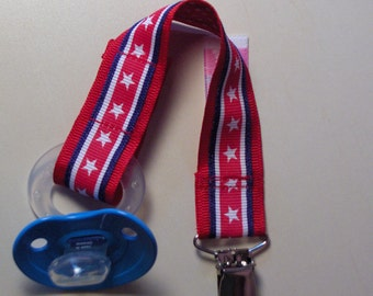 American Stars & Stripes USA PACIFIER Holder. Baby Shower or New Baby Gift. Universal, Soothie, Mam, Avent, Gumdrop or Nuk.