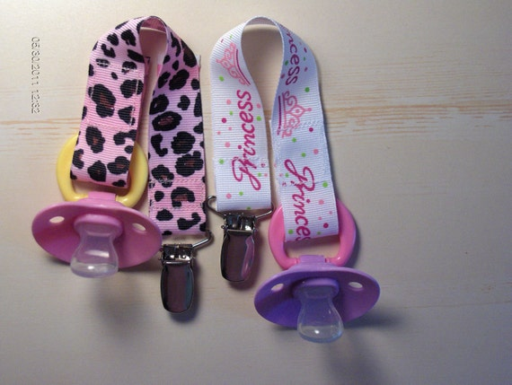 PACIFIER Holder for GIRLS - Choice of Leopard OR Princess Design - Baby Shower Gift, Universal, Soothie, Mam. Avent, Gumdrop or Nuk