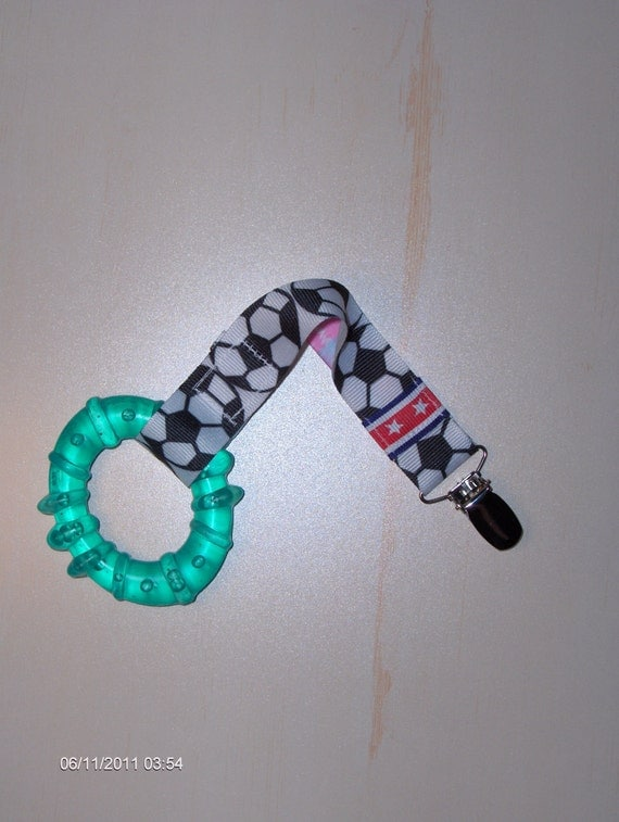 USA SOCCER Sports PACIFIER Clip Holder - Great Baby Shower or New Baby Gift. Universal, Soothie, Mam, Avent, Gumdrop or Nuk