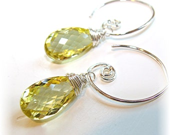 Goccia di Limone Earrings - Lemon Quartz pan cut teardrops
