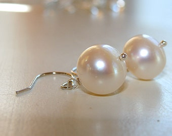 Pearl Earrings 14k Solid White Gold - AAA Large 11mm Pearls