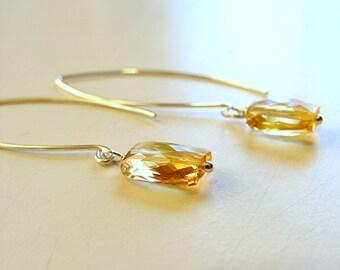 Golden Citrine Puffed Kite Briolette Earrings - Argentium sterling silver earwires