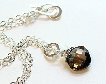 Chocolate Truffle Necklace - Cushion cut brown smokey smoky quartz gemstone