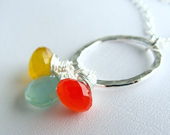 Tricolori Necklace - 3 chalcedony briolettes and fine silver ring - argentium sterling silver chain