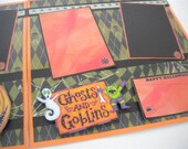 HALLOWEEN 12 x 12 premade scrapbook pages - halloween ghosts goblins boy girl