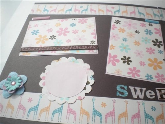 SWEET BABY 12 x 12 premade scrapbook pages - girl