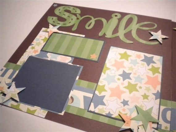 SMILE 12 x 12 premade scrapbook pages - boy