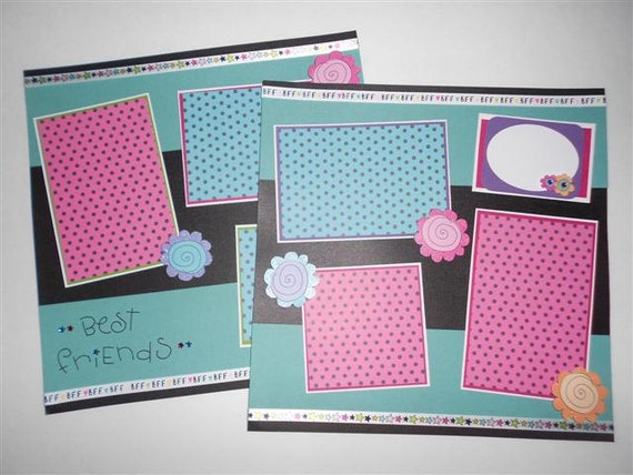 12 x 12 Premade Scrapbook Pages - BeSt FrIeNdS  BFF GIRL Girls Sisters