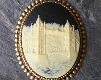 British London bridge cameo brooch black ivory antique brass